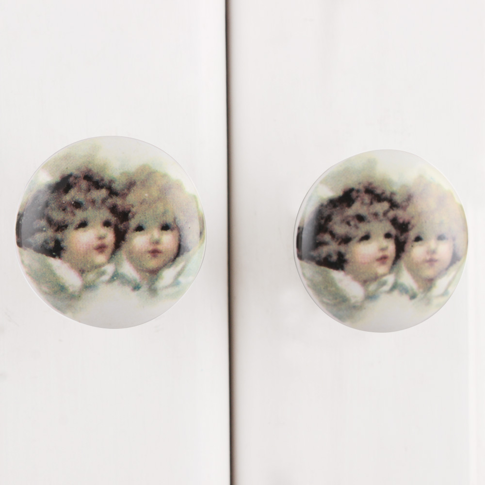Baby Doll Flat Ceramic Drawer Knob