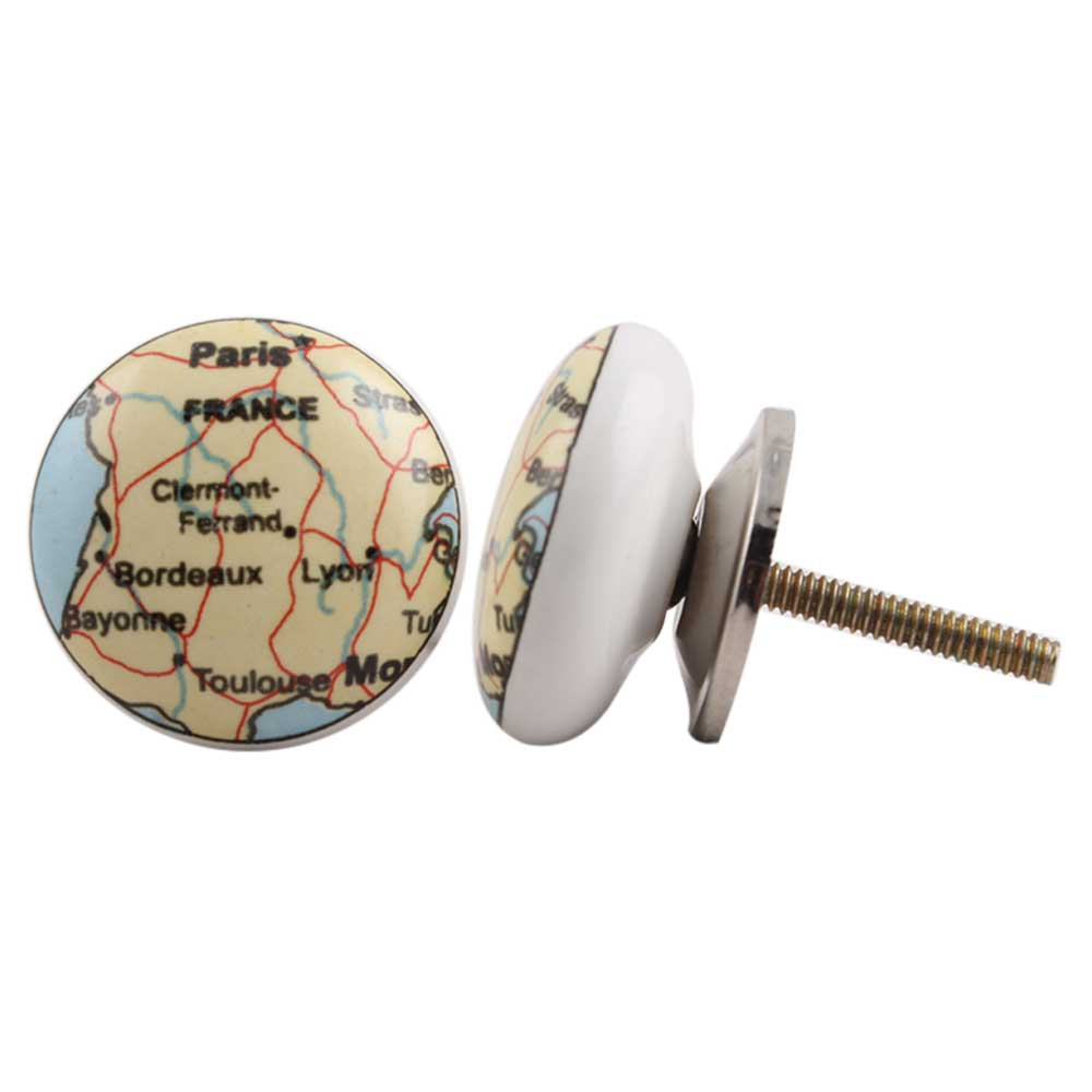 France Map Flat Ceramic Drawer Knob