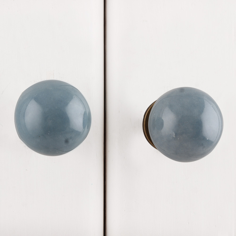 Grey Small Ceramic Dresser Knob