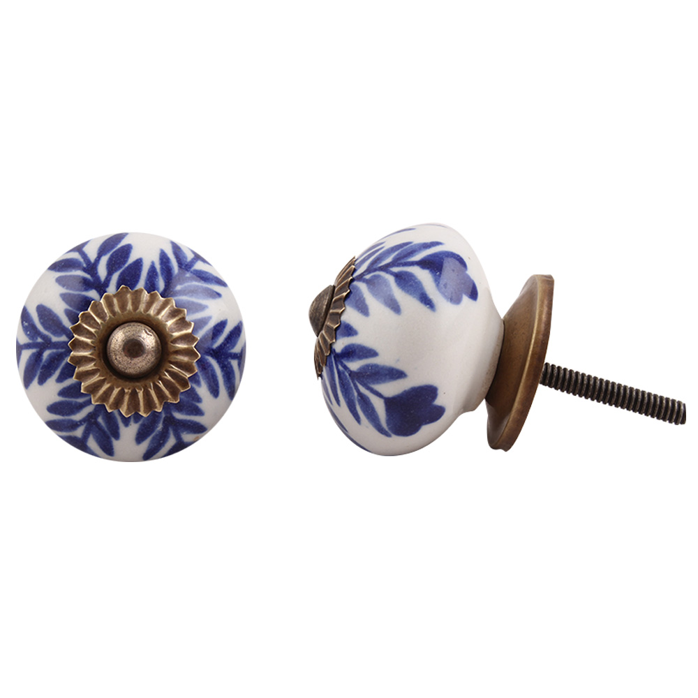 Navy Blue Leaf Ceramic Knob