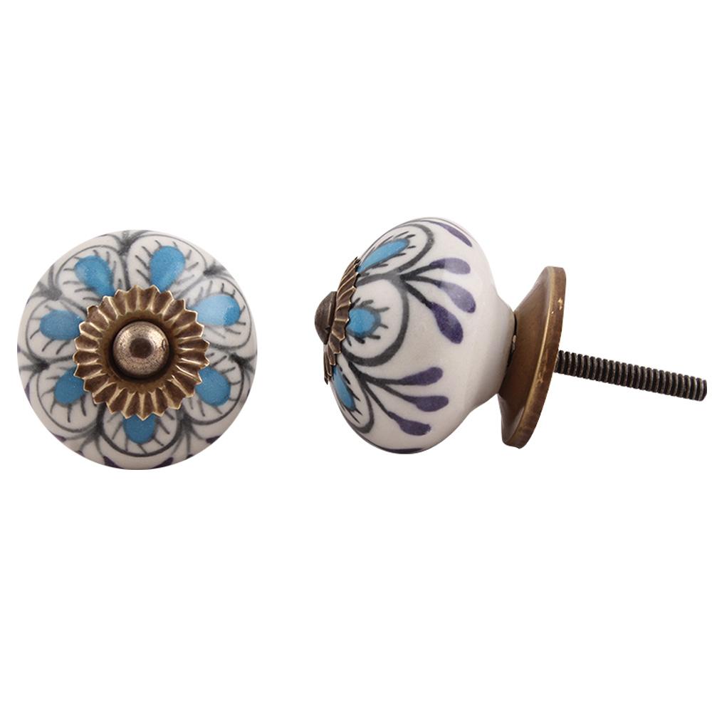 Handpainted Blue Floral Ceramic Knob