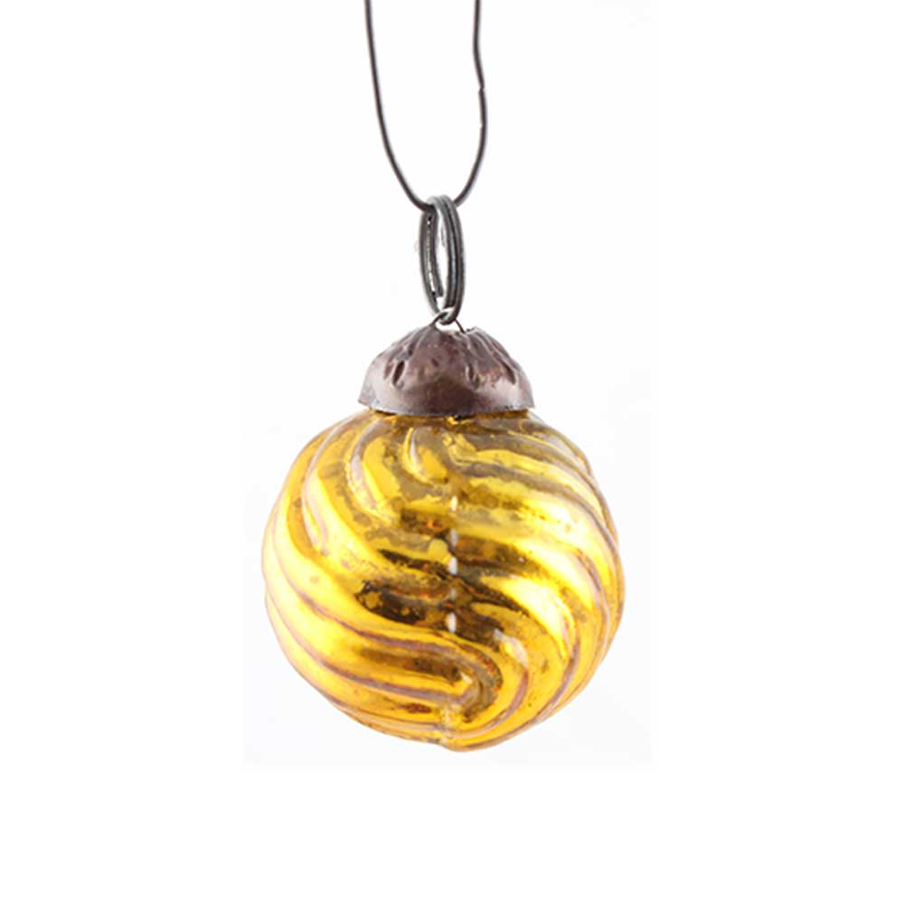 Antique Golden Striped Tiny Christmas Ornament Online