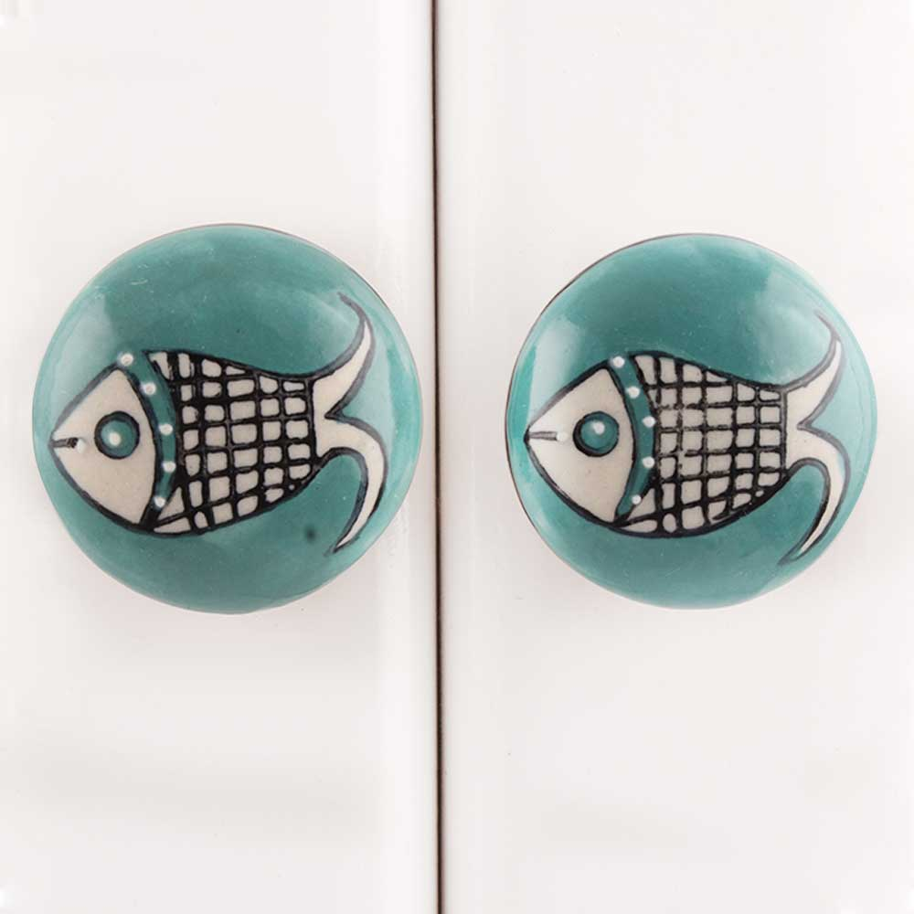 Sea Green Fish Ceramic Dresser Knob