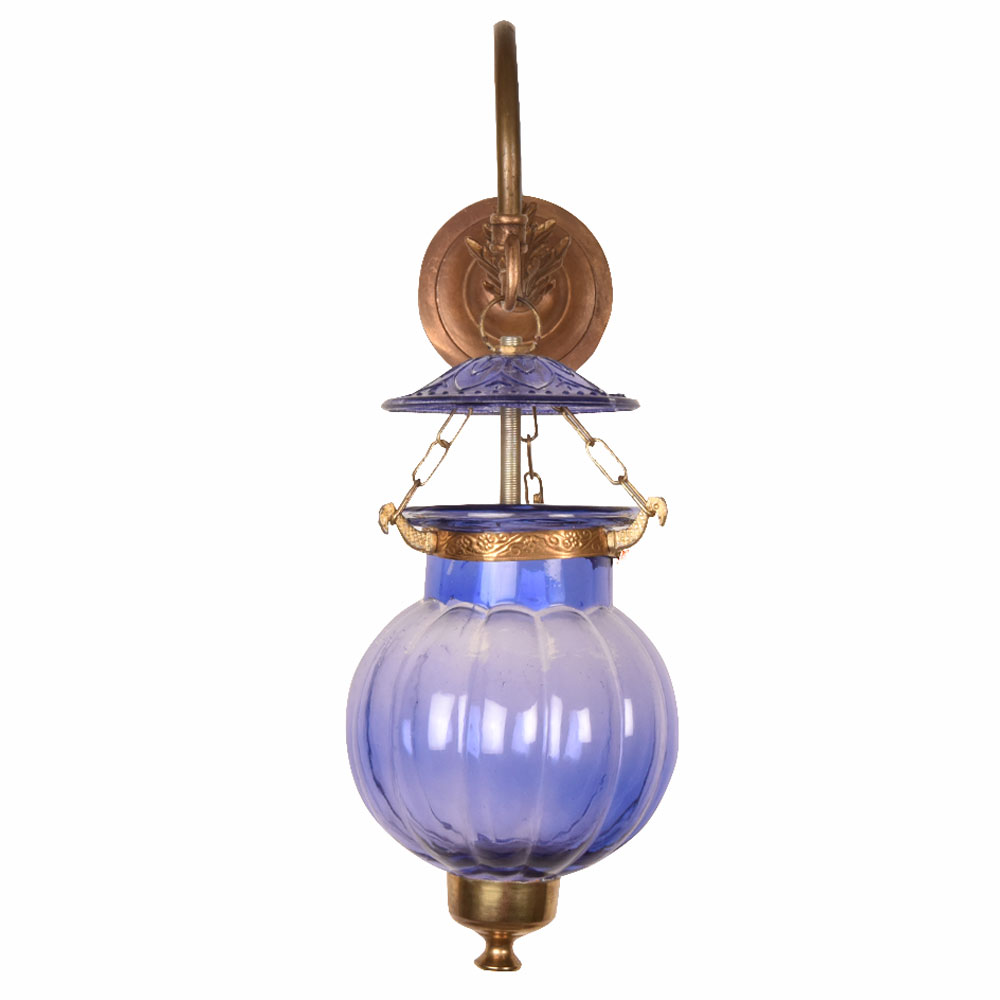 Blue Pumpkin Shaped Wall Lamp