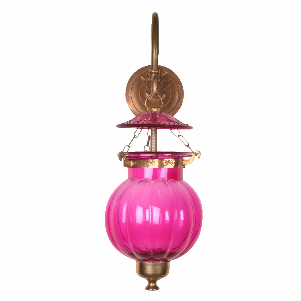 Pink Pumpkin Shaped Glass Wall Lamp