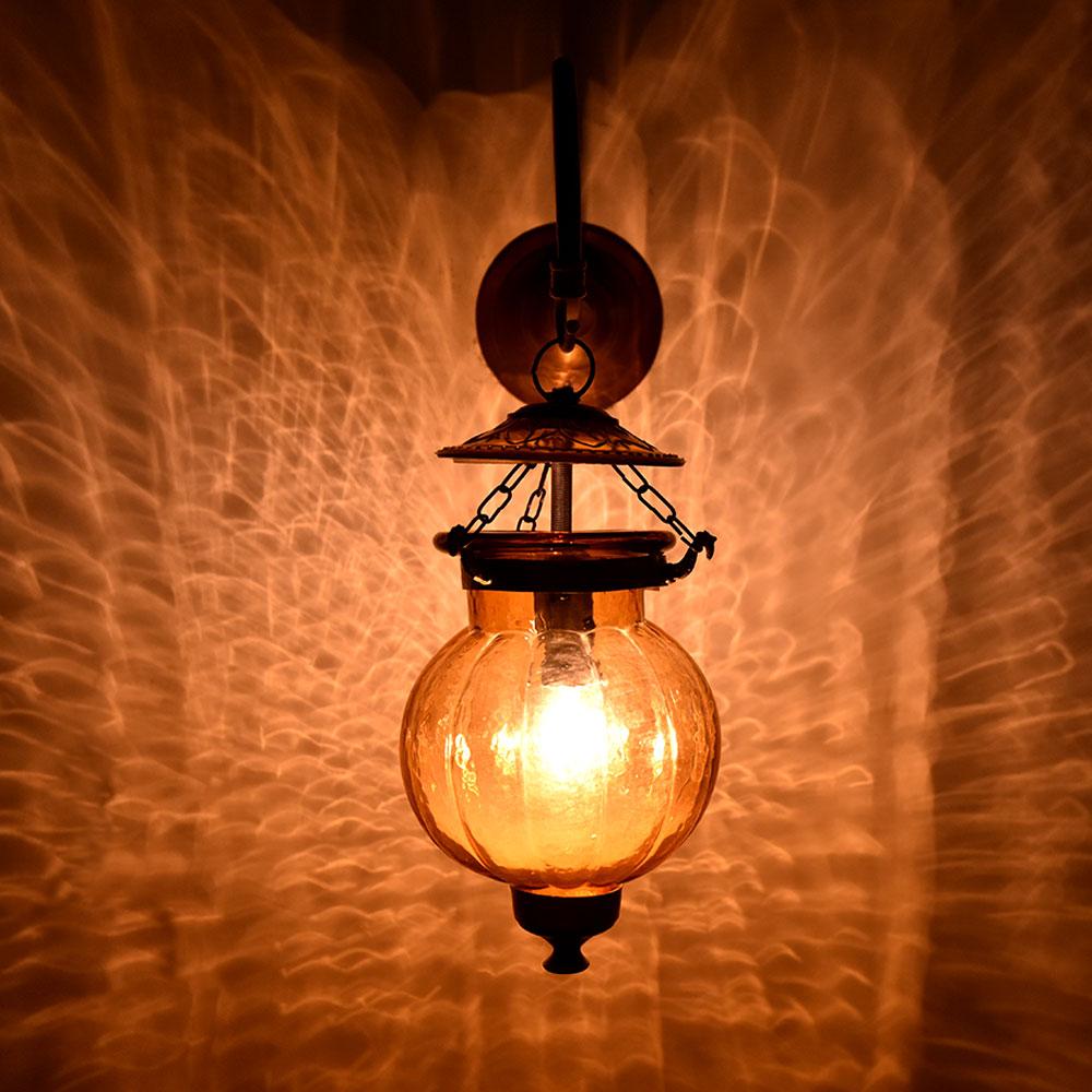 Yellow Pumpkin Glass Wall Lamp