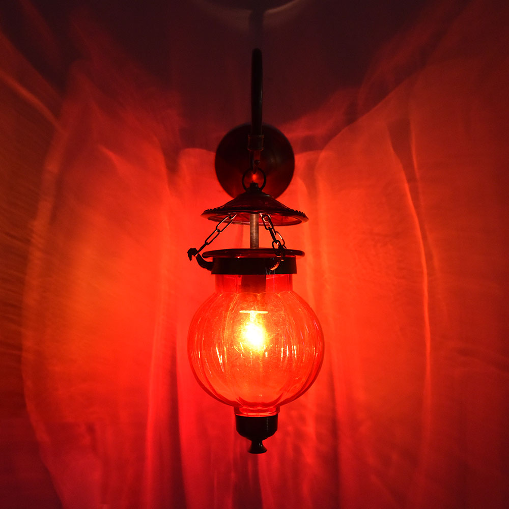 Maroon Pumpkin Glass Wall Lamp