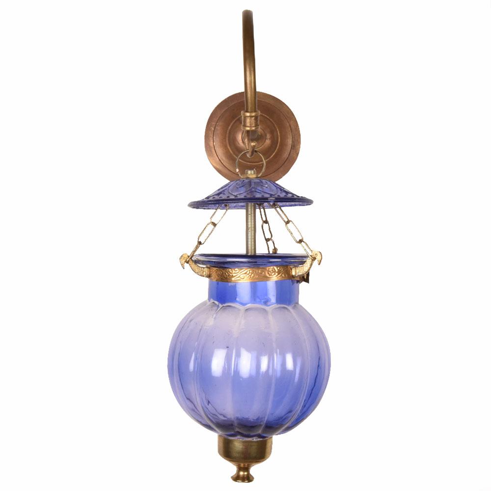 Light Blue Pumpkin Glass Wall Lamp