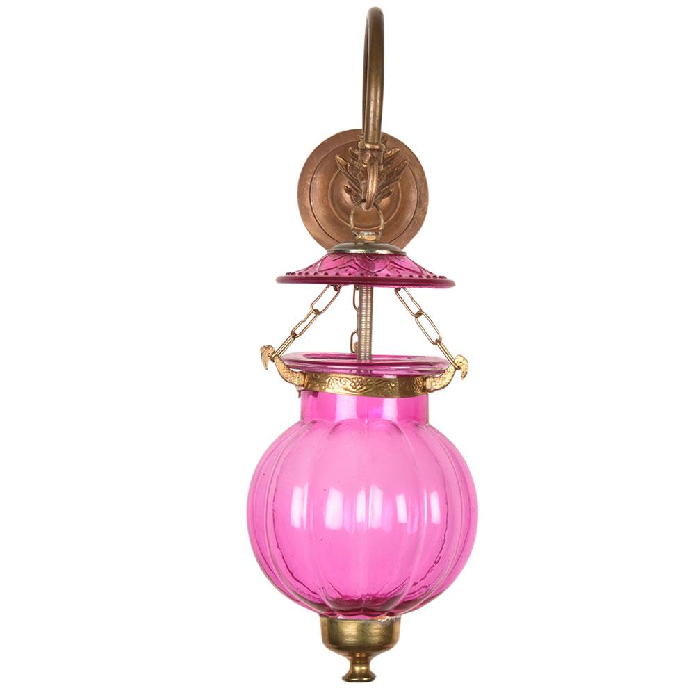 Pink Melon Shaped Hanging Lamp