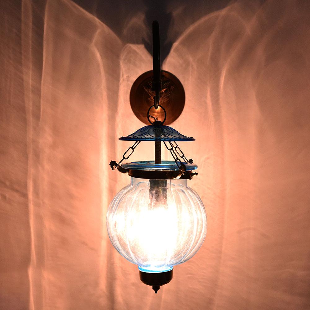 Light Blue Melon Shaped Glass Lamp