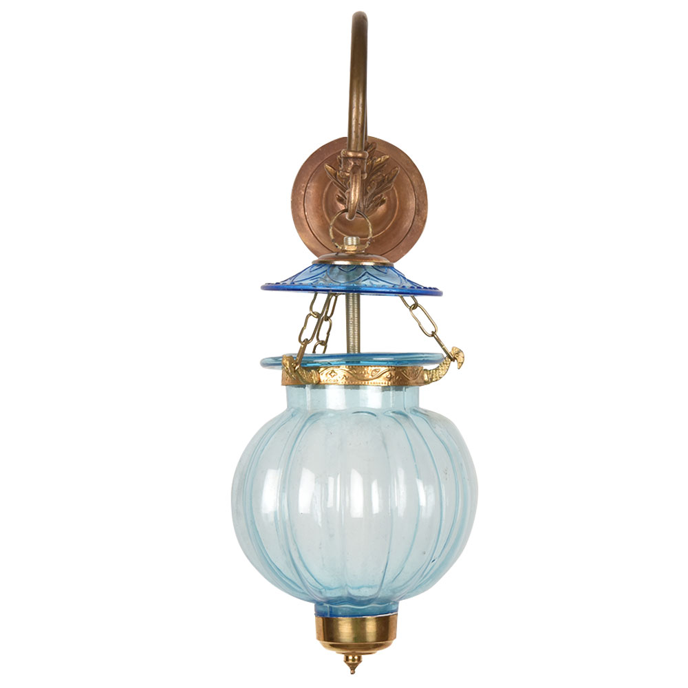 Light Blue Melon Shaped Glass Lamp