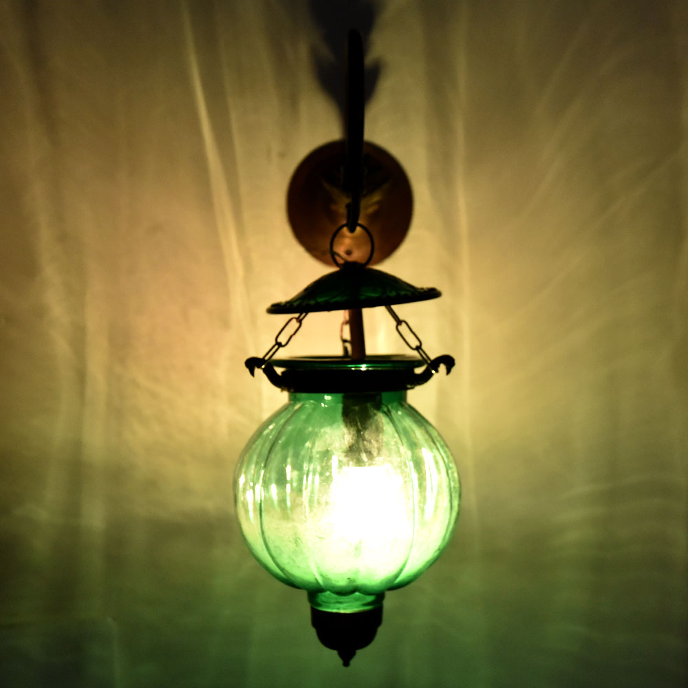 Green Melon Shaped Glass Lamp