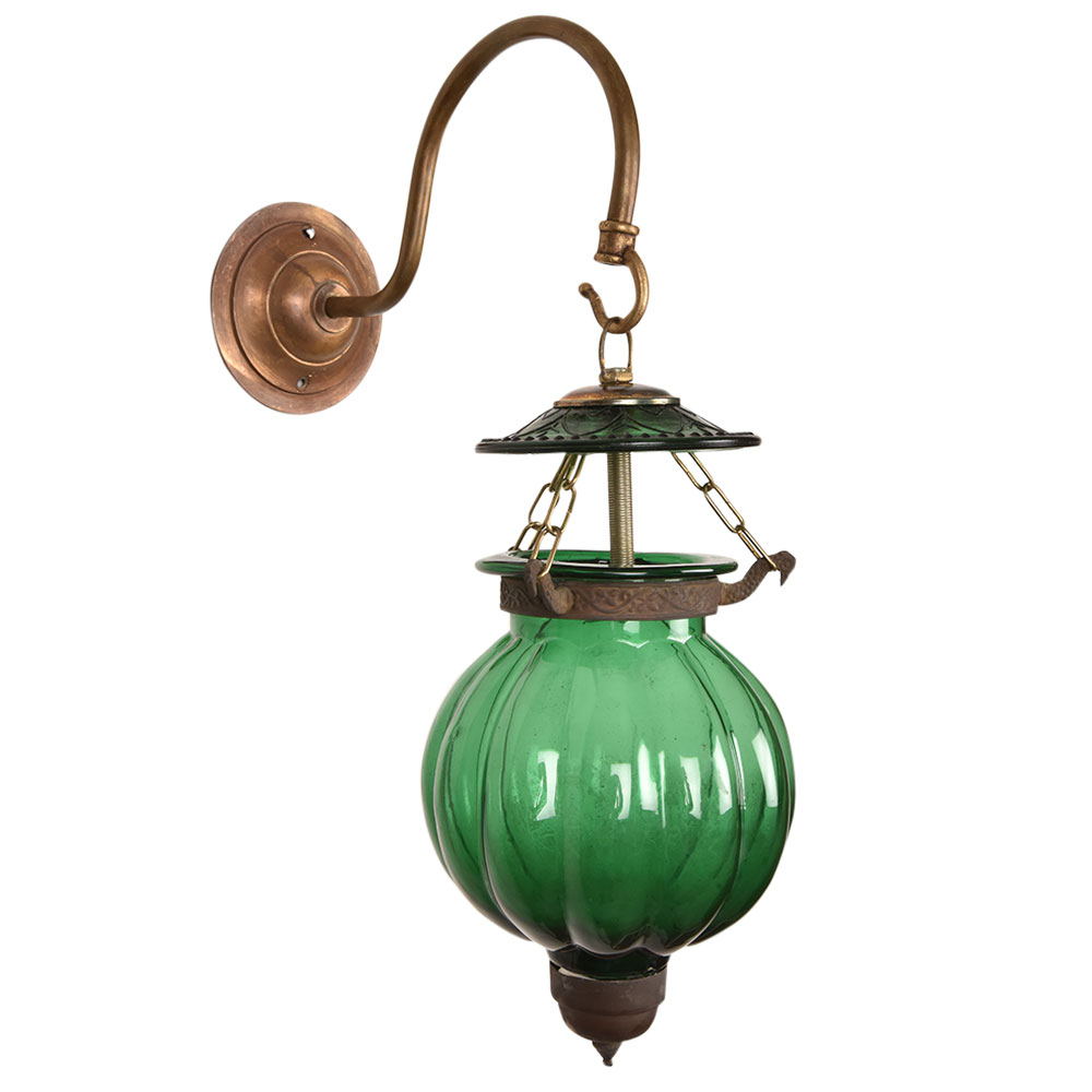 Green Melon Shaped Glass Hanging