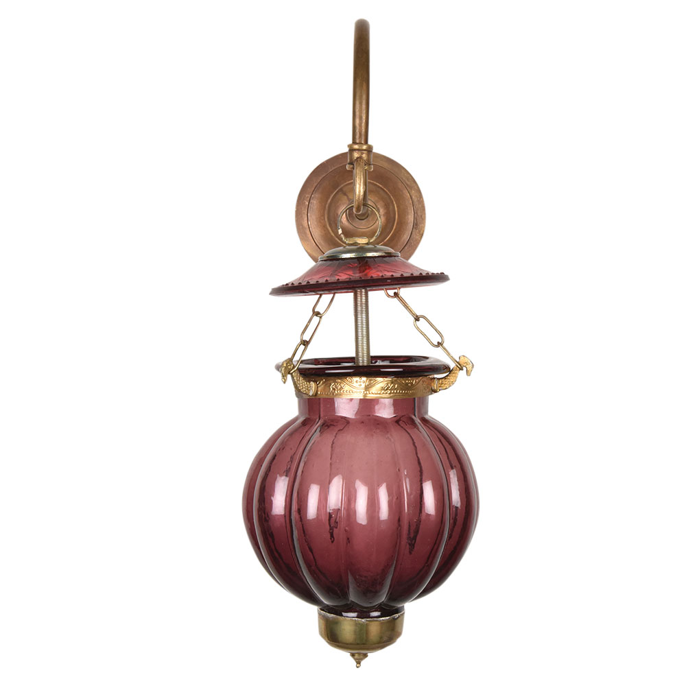 Plum Melon Shaped Glass Hanging