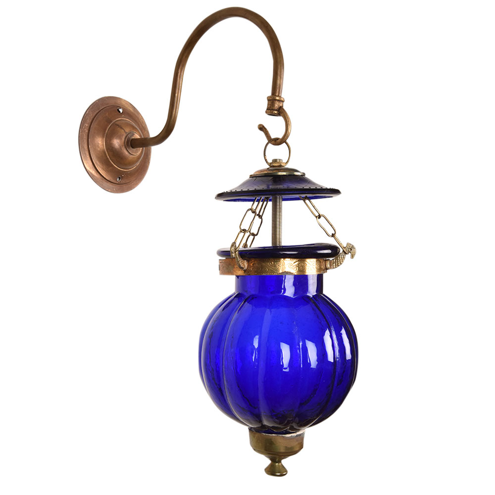 Cobalt Blue Melon Shaped Glass Hanging