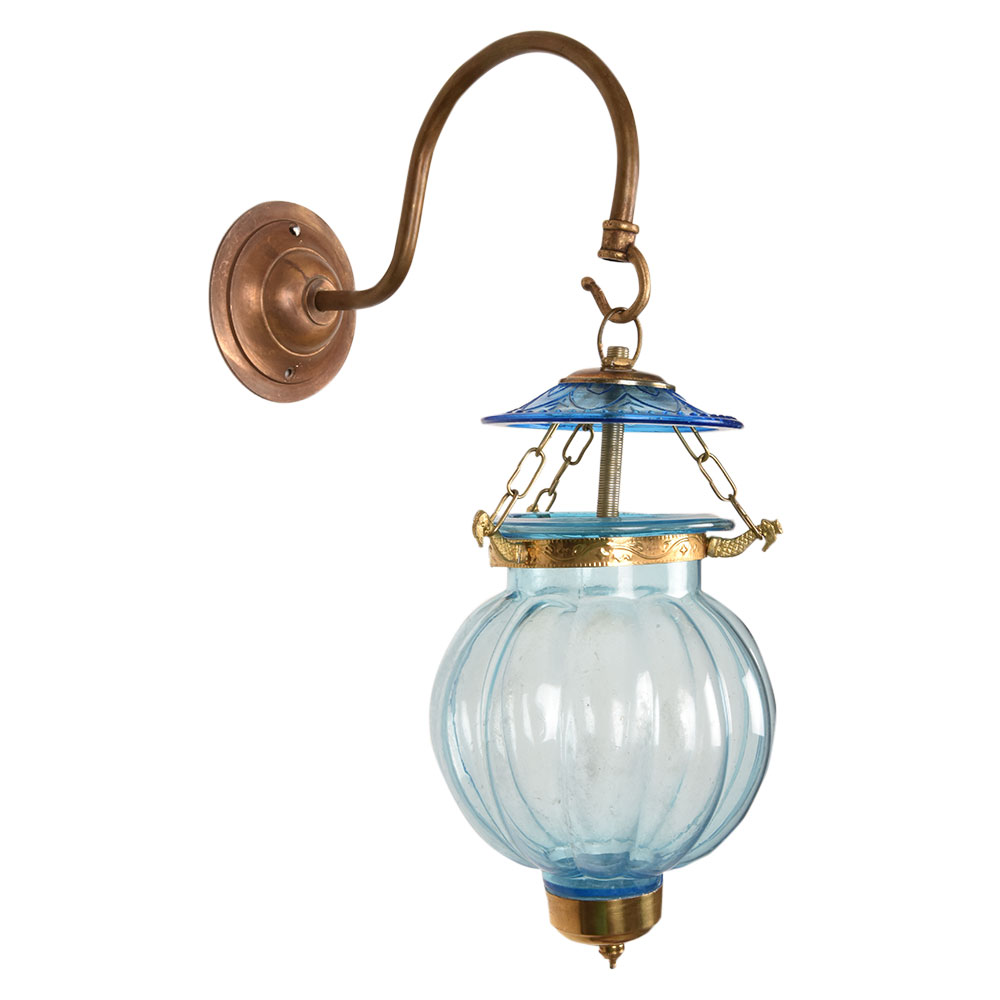 Light Blue Melon Shaped Glass Hanging