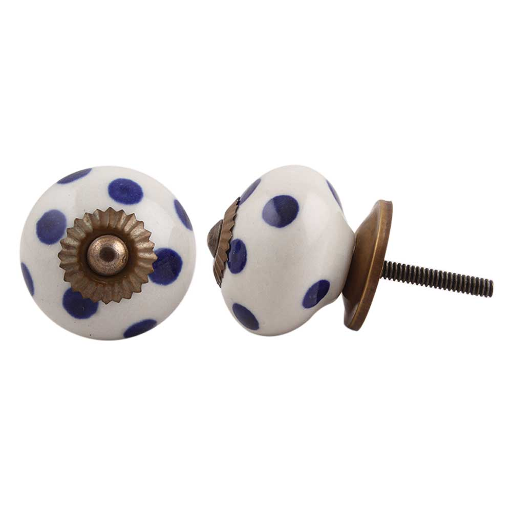 White Navy Blue Polka Dot Ceramic Knob