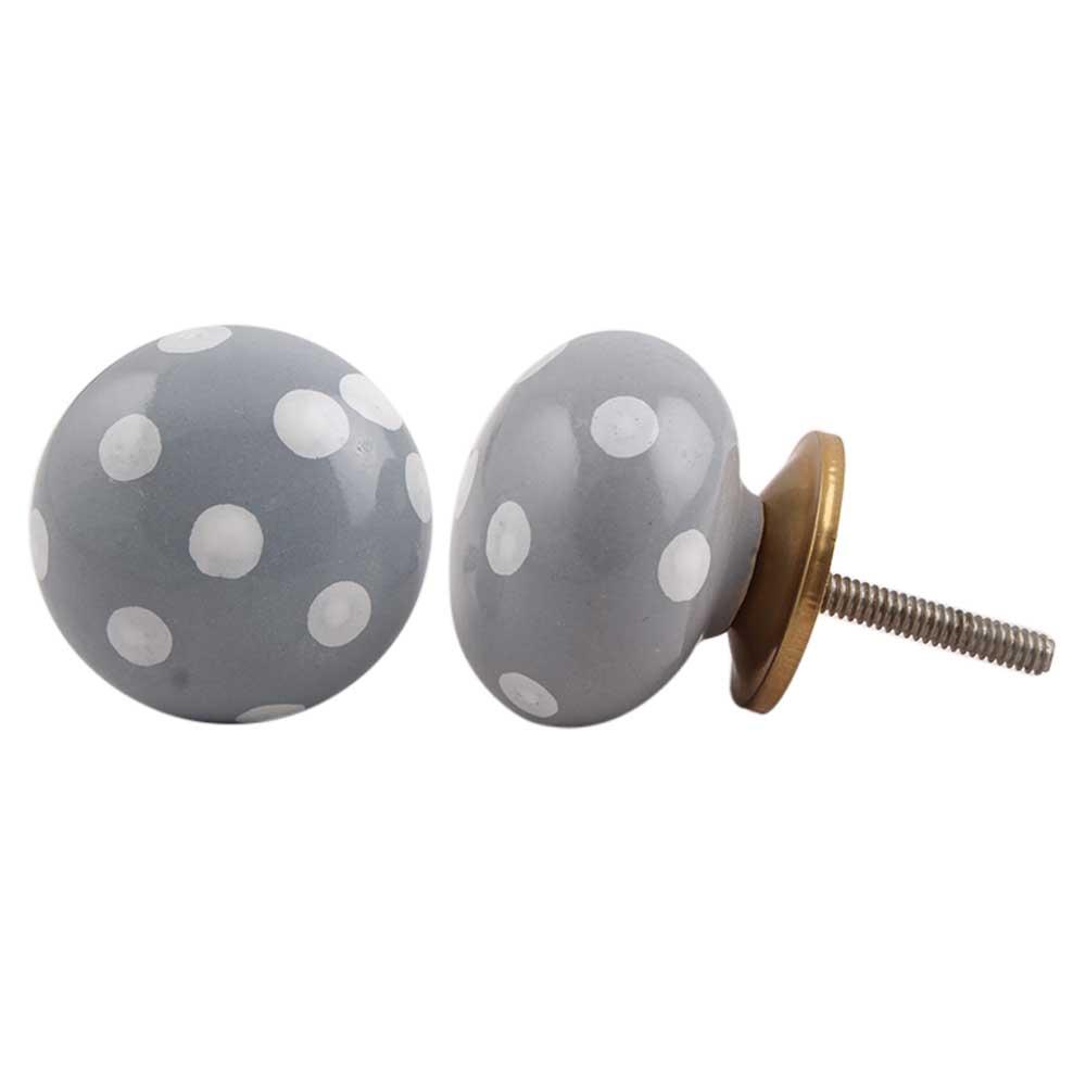 Grey White Polka Dot Cabinet Knob