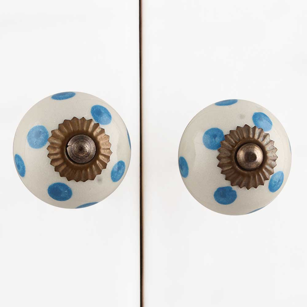 Cream Blue Polka Ceramic Handmade Knob