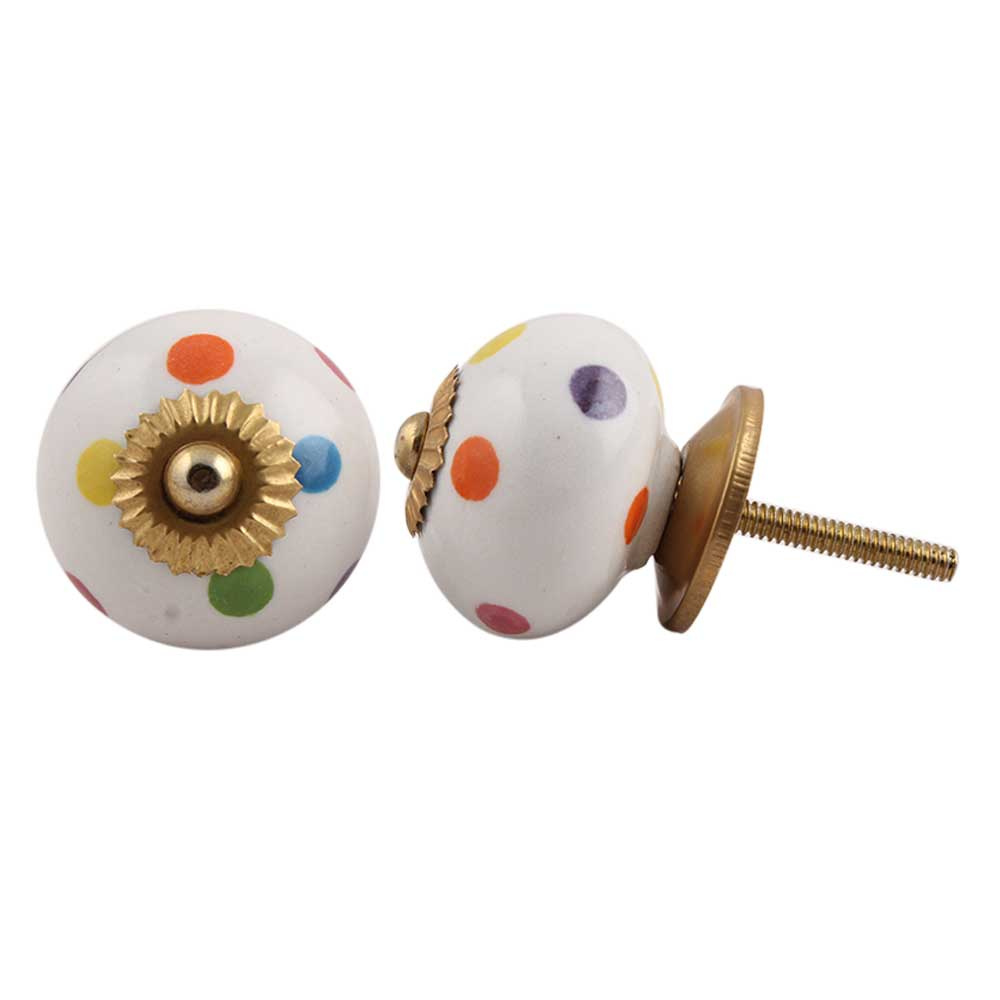Mixed Dotted Ceramic Cabinet Knob