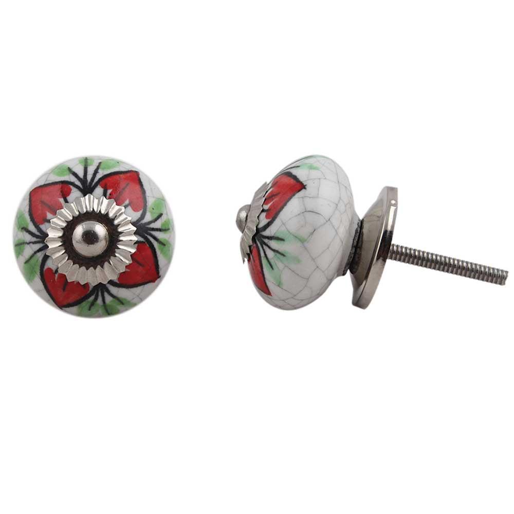 Red Flower Crackle Ceramic Dresser Knob Online