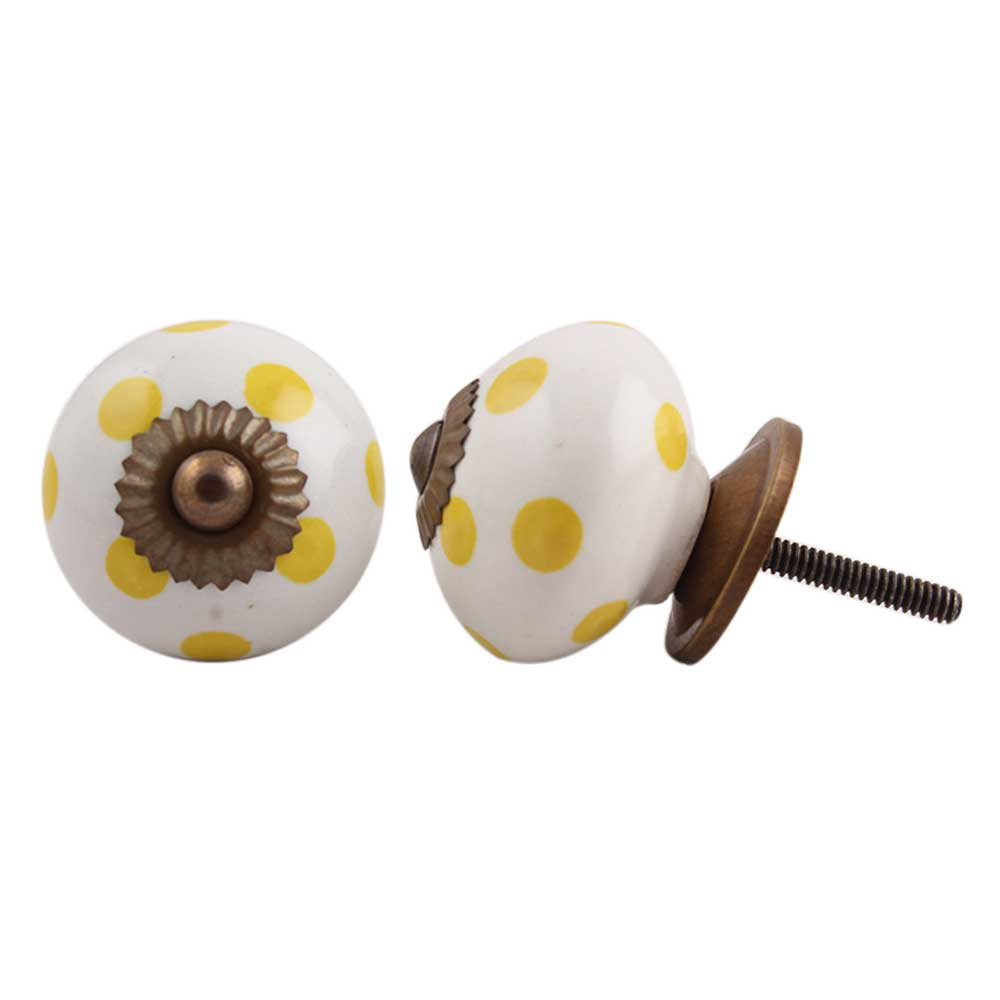 White Yellow Polka Ceramic Furniture Knob