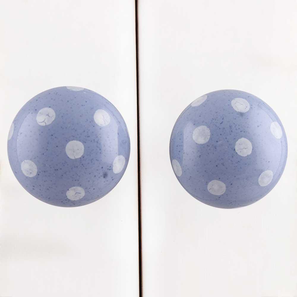 Slate Blue White Polka Potted Knob
