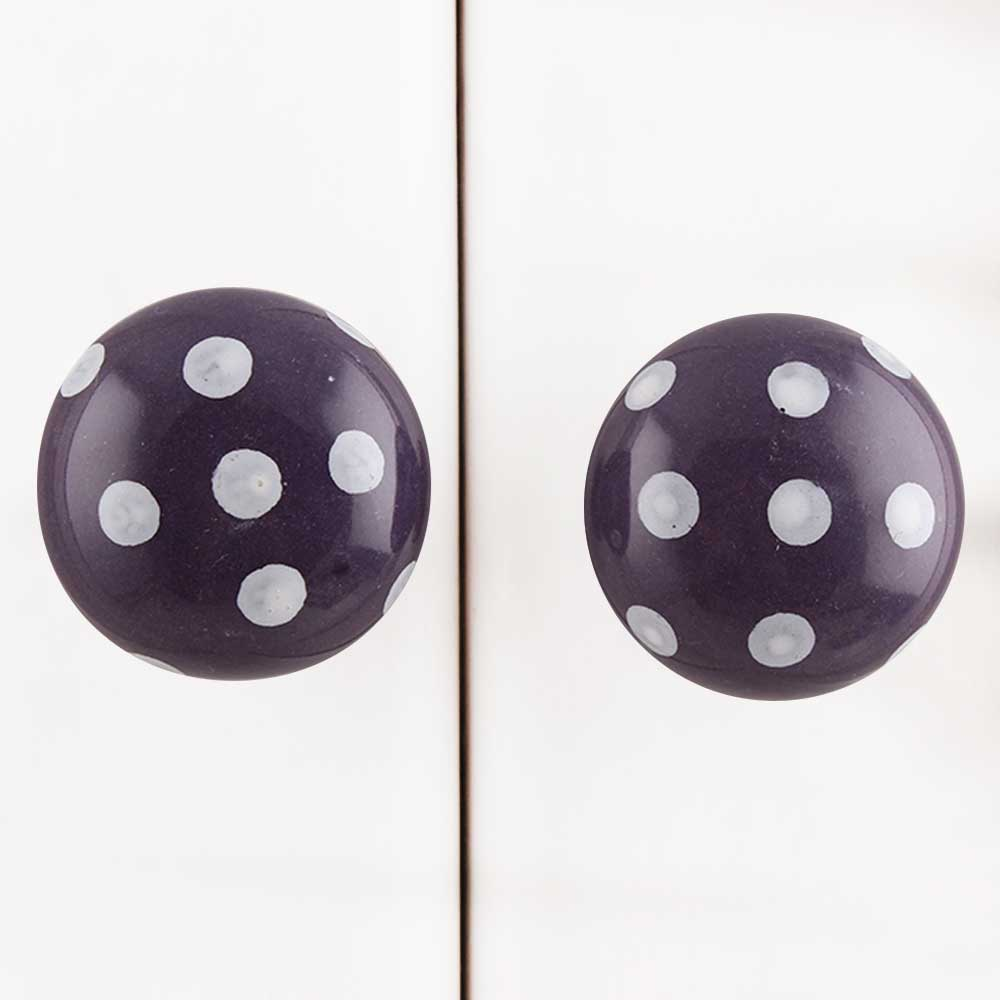 Purple White Polka Dotted Drawer Knob