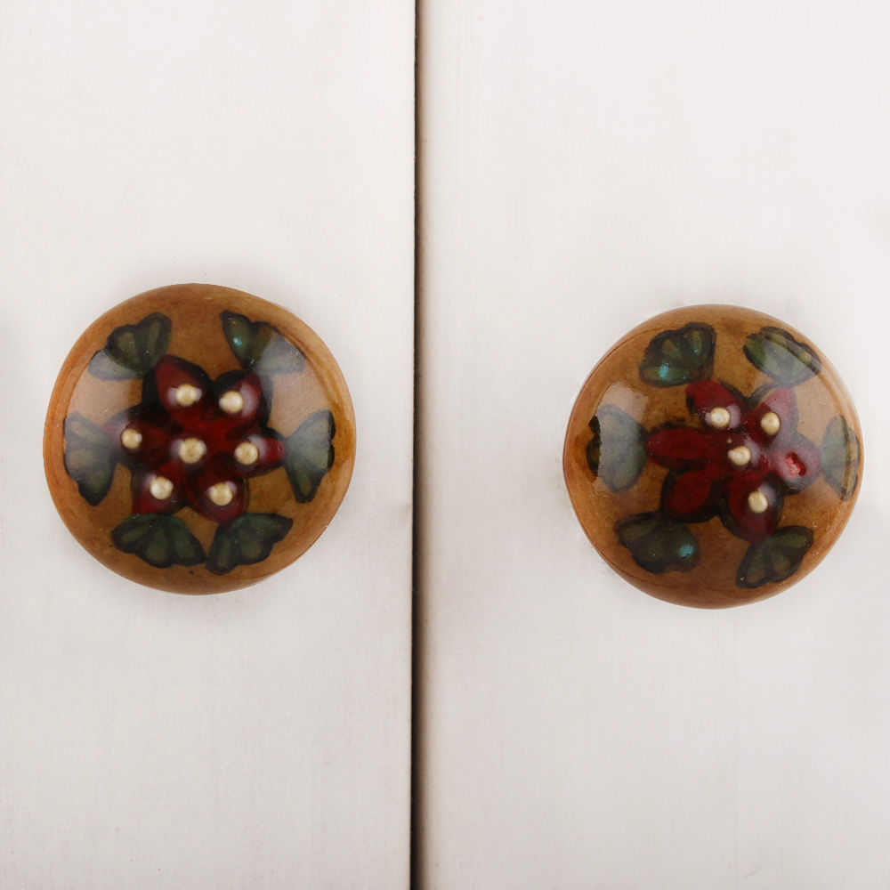 Mustard Big Red Floral Ceramic Wardrobe Knob