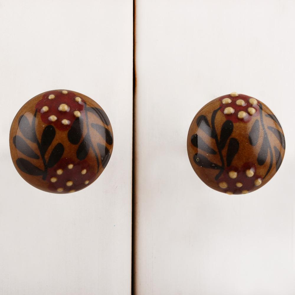 Red Black Dotted Leaf Cabinet Knob