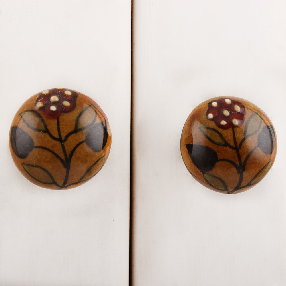 Mustard Red Dotted Floral Ceramic Knob