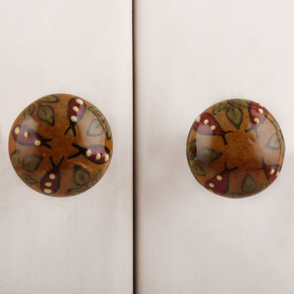 Brown Red Dotted Fish Ceramic Bulb Knob