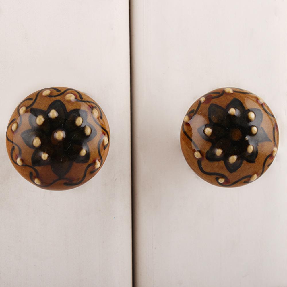 Peanut Brown Maroon Floral Ceramic Bulb Knob