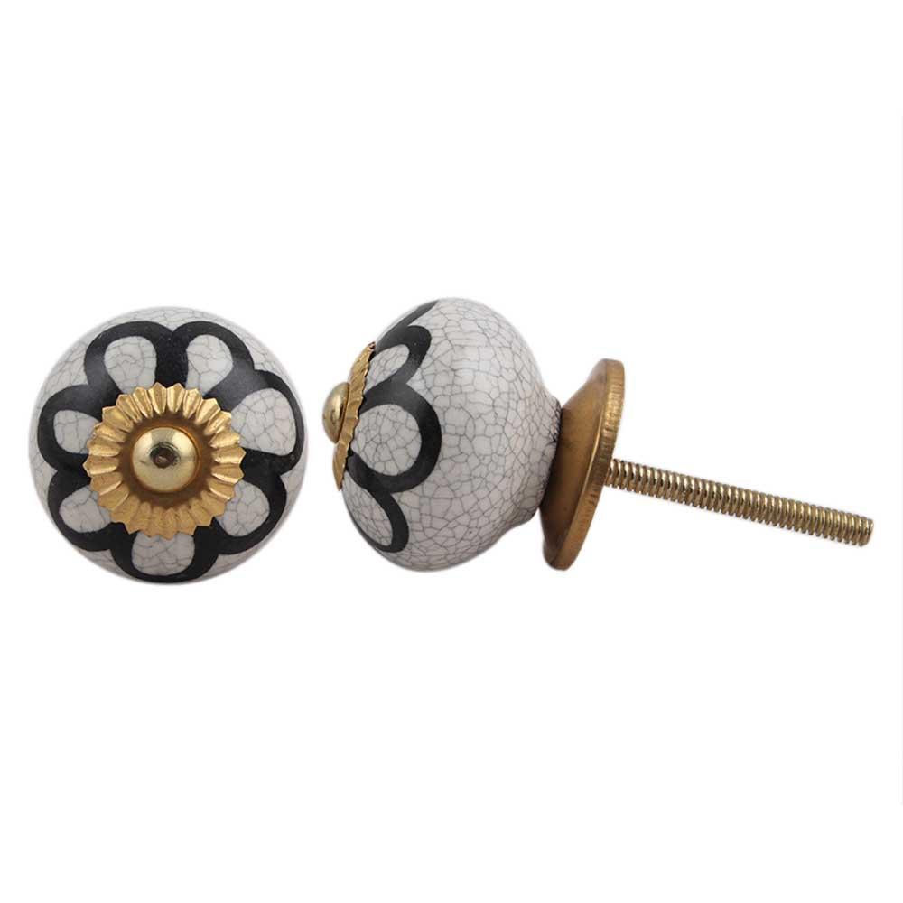 Black Sunflower Crackle Drawer Knob