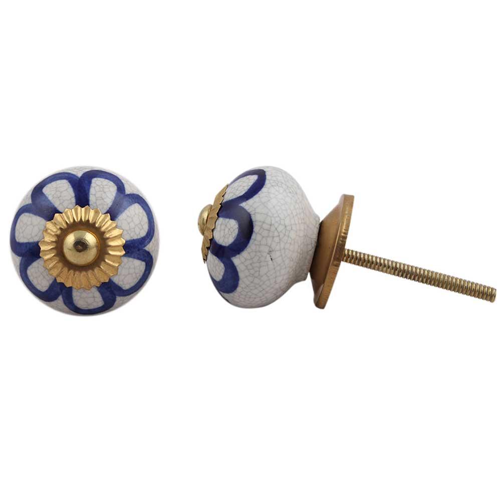 Navy Blue Floral Crackle Ceramic Drawer Knob