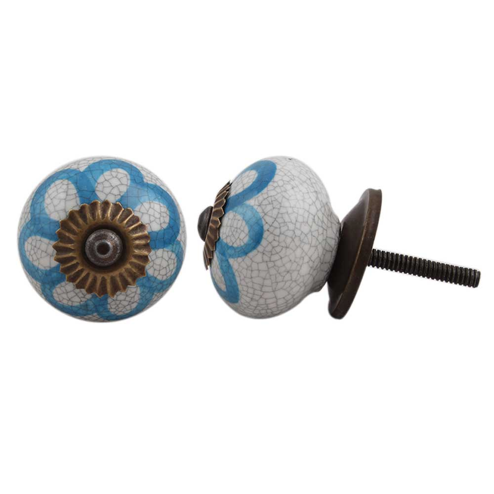 Blue Floral Crackle Wardrobe Knob