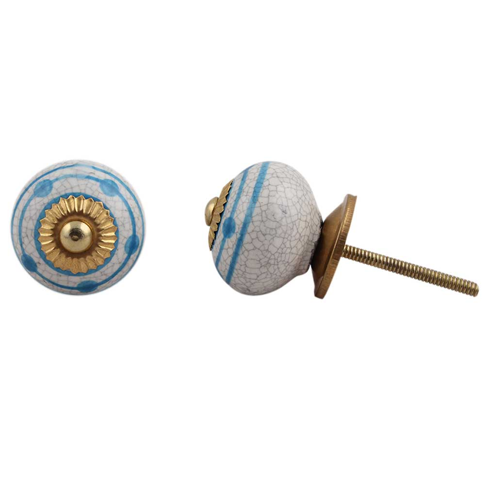 Blue Striped Dotted Cackle Cabinet Knob