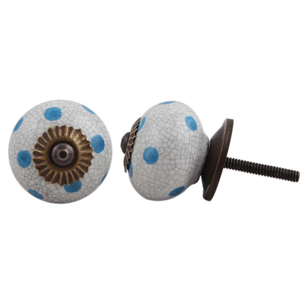 Blue Polka Dot Crackle Drawer Knob