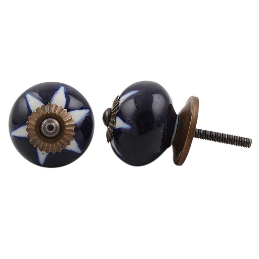 Navy Blue Etched Ceramic Knob-06
