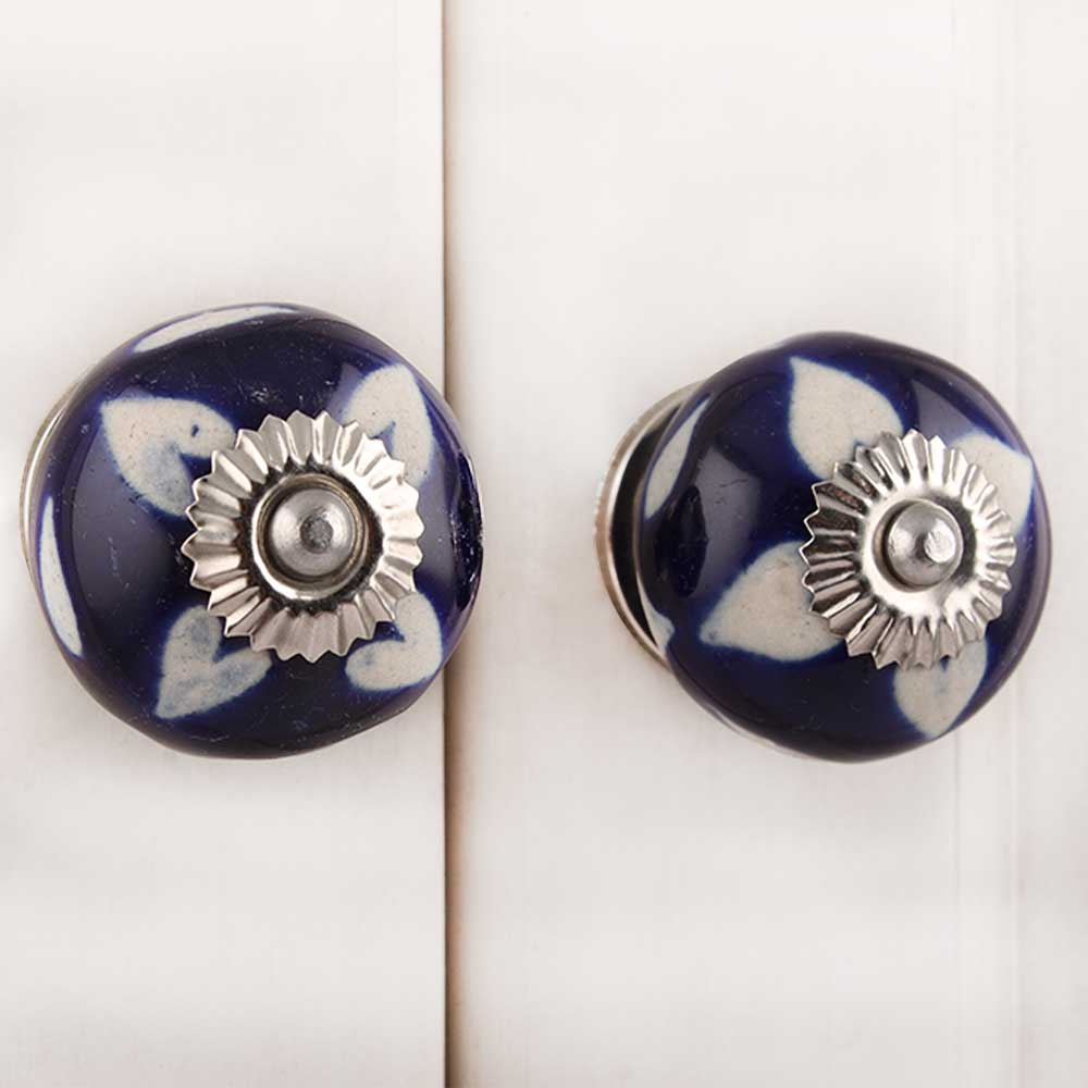 Navy Blue Etched Ceramic Knob-07