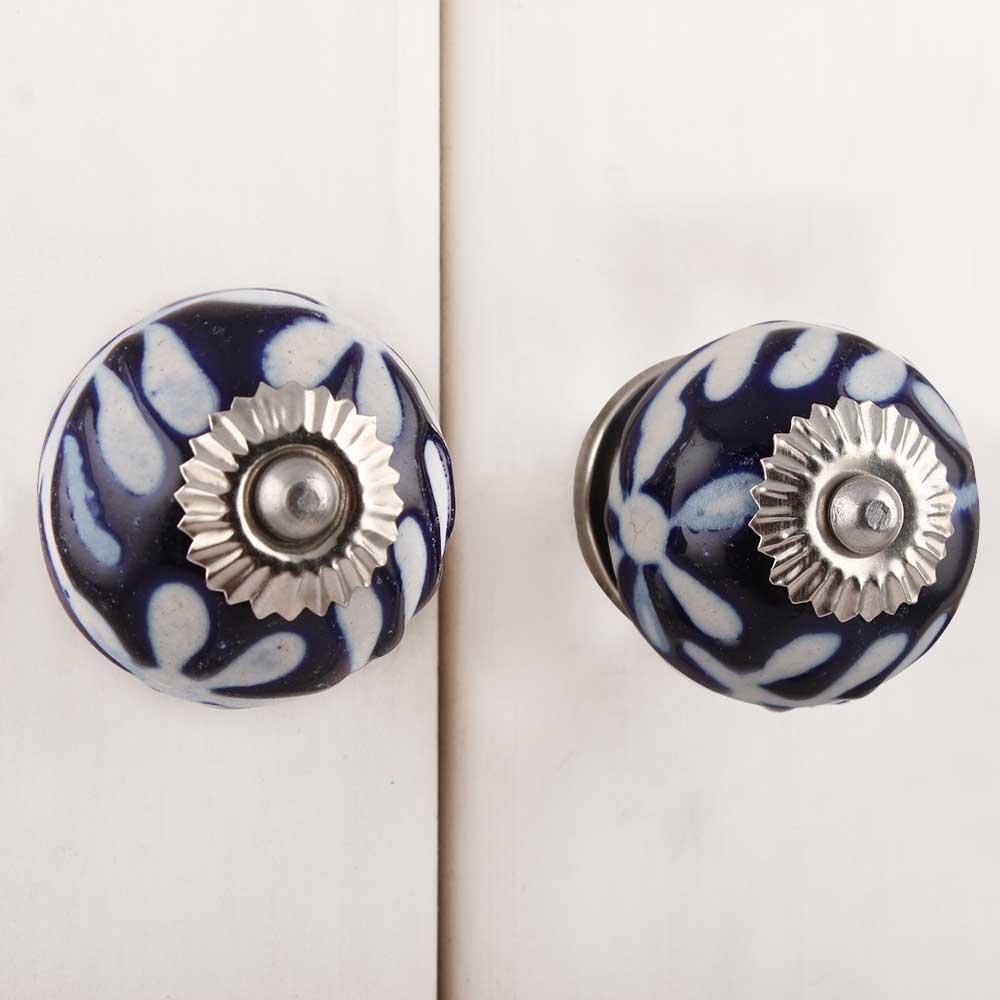 Navy Blue Etched Ceramic Knob-08