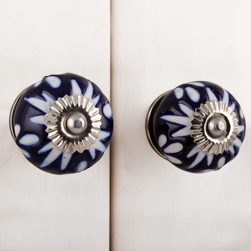 Navy Blue Etched Ceramic Knob-09