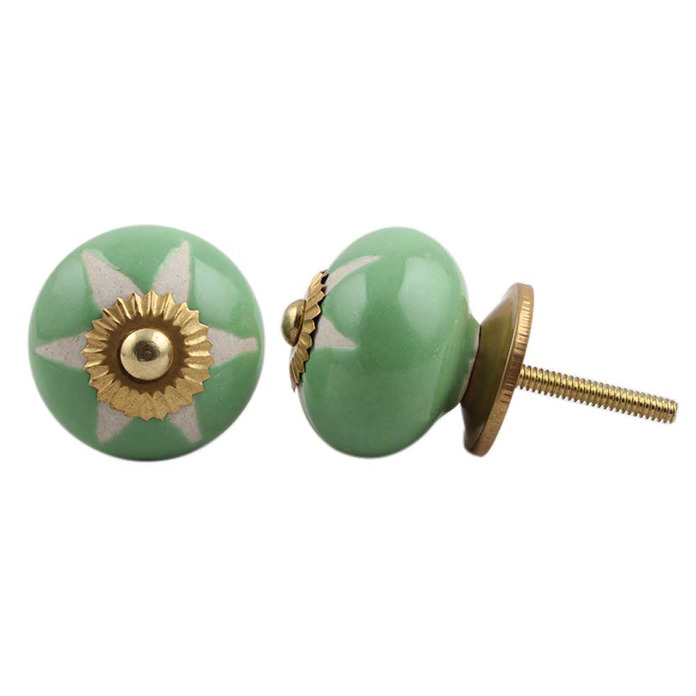 Pea Green Etched Ceramic Knob-10
