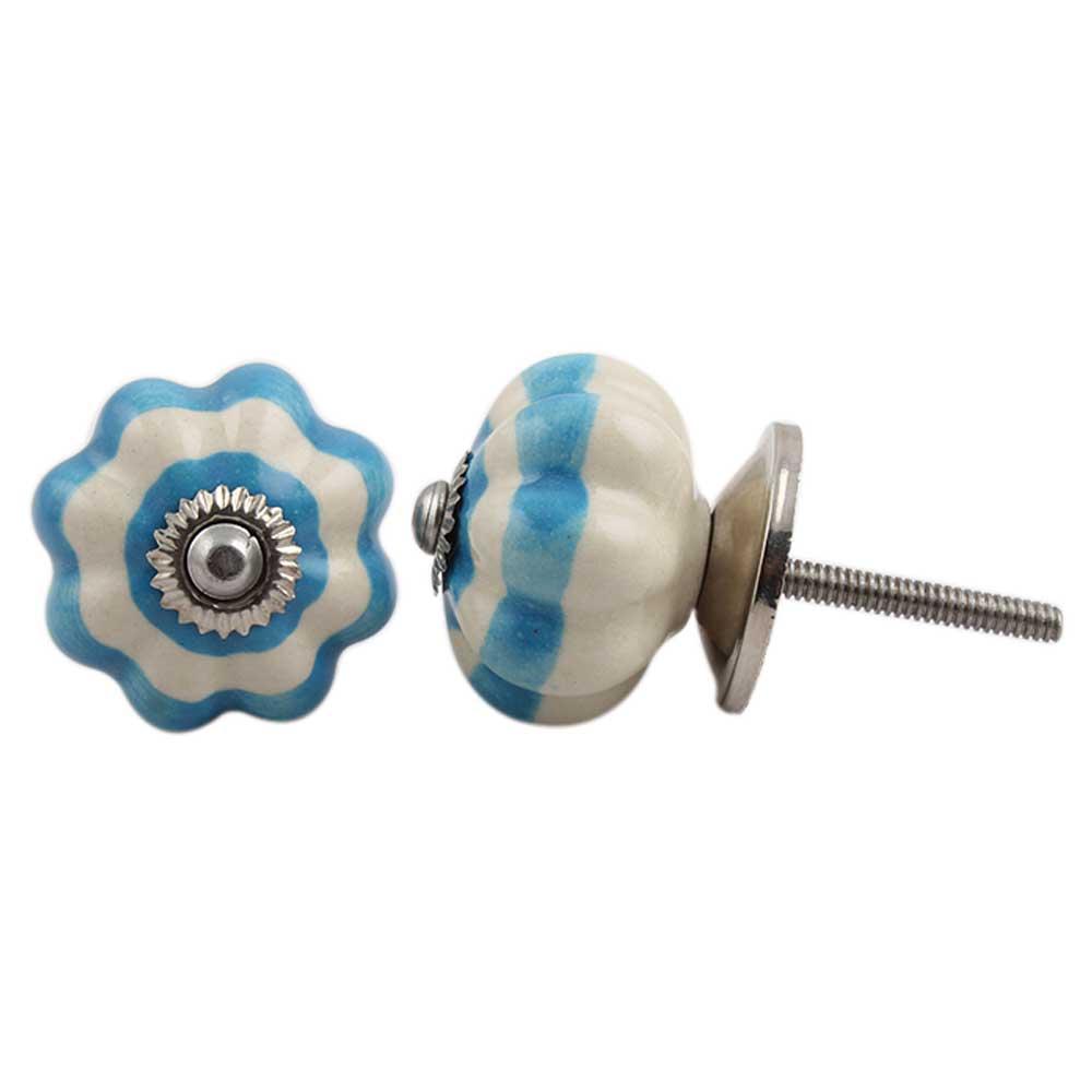 Cream Turquoise Medium Knob