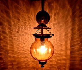 Orange Pumpkin Shaped Glass Lamp