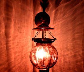 Plum Melon Shaped Glass Lamp