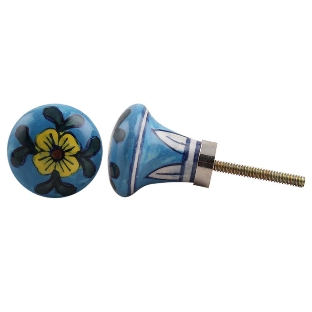 Long Blue Floral Bulb Ceramic Pull Knob