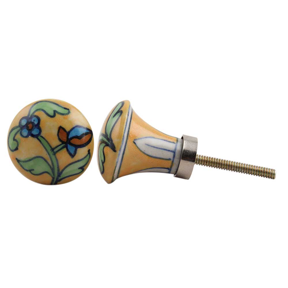 Long Yellow Floral Pull Bulb Ceramic Knob