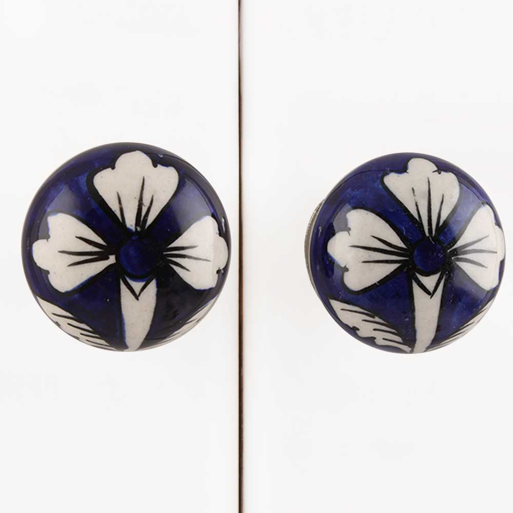 Navy Blue Flower Knob