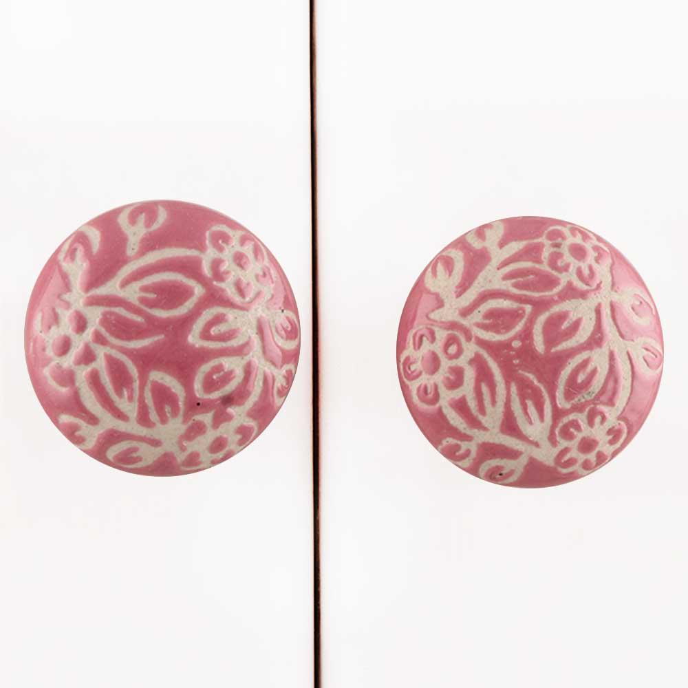 Pink Etched Flat Knob